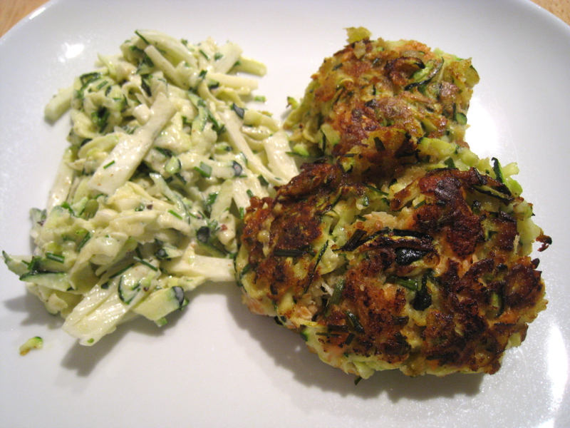 Summer Salmon Cakes With Zucchini Fennel Slaw Recipe ...