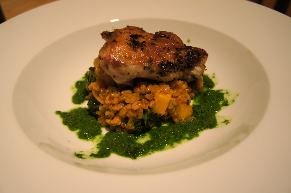 Recipe Review: Skillet-Roasted Chicken with Farro and Herb Pistou ...
