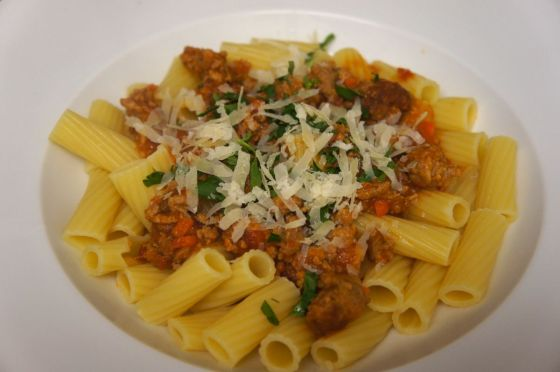 Rigatoni with Spicy Calabrese-Style Pork Ragu