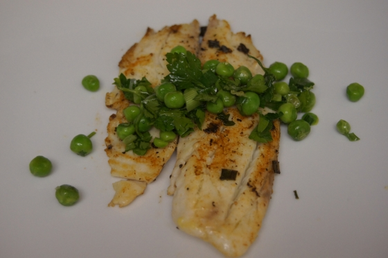 Sauteed Tilapia with Herbed Pea Sauce