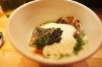 Chawanmushi: ham egg custard, american caviar, peas, latke, wild striped bass, country ham