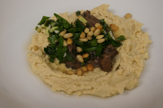Ottolenghi Hummus kawarma (lamb) with lemon sauce