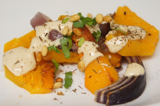 Ottolenghi Roasted Butternut Squash and Red Onion with Tahini and Za'atar