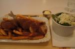 Bestie currywurst, spinach salad
