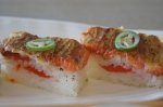 Miku aburi salmon oshi sushi