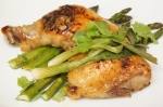 Soy-glazed chicken with asparagus and scallions