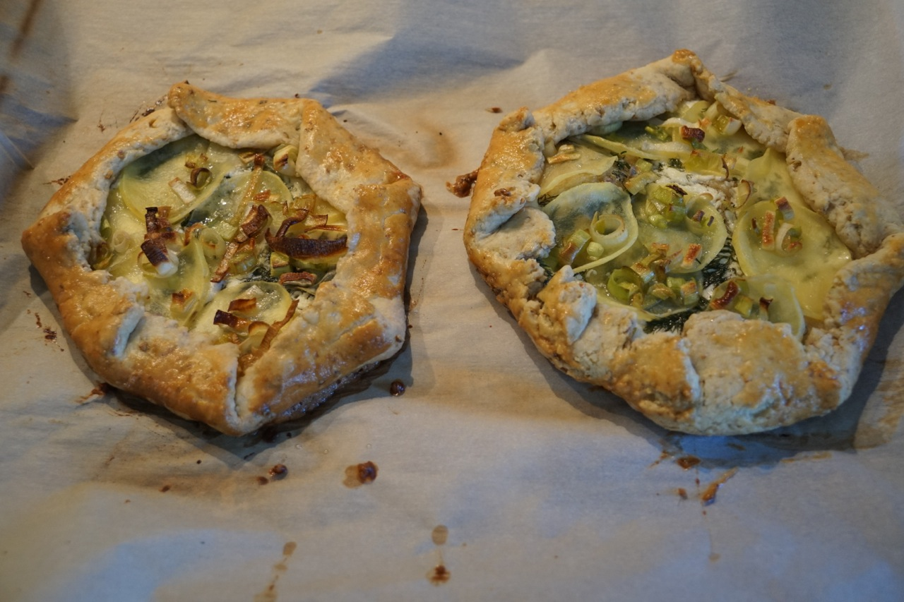 ... potato leek mushroom and gorgonzola in a whole leek and potato galette